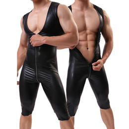 $enCountryForm.capitalKeyWord Australia - Cool Men Bodysuit Sexy Elastic Lingerie Faux Leather Zipper Teddies Open Crotch Underwear Nightclub Catsuit Costume Sleeveless Leotard