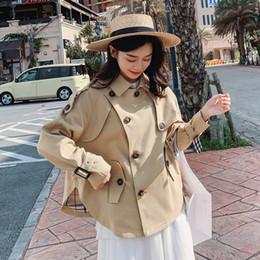 Wholesale female short coats resale online – new solid color long sleeve short trench coat ladies fashion sweet turn down collar jacket female college style over coat D38