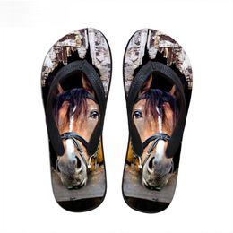 $enCountryForm.capitalKeyWord Australia - Customized 3D Crazy Animal Horse Print Summer Women Slipper Rubber House Flip Flops for Ladies Female Beach Sandals Flats Shoe