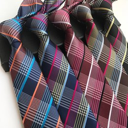 $enCountryForm.capitalKeyWord Australia - wholesale Plaid Polyester Neckties For Men Upscale Business Suit Ties Gravat Corbatas Slim Of Vestidos Ties Wedding