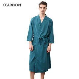 ebf1e0a5d6 CEARPION Waffle Cotton Solid Color Men Summer Robe Casual Three Quarter  Sleeve Robes Male Autumn Kimono Bathrobe Gown Nightgown