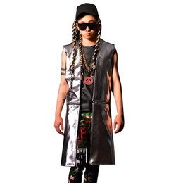 hip hop man leather jacket Australia - Men PU Leather Vest Coat Fashion Hip-hop Casual Sleeveless Long Jacket Stage Singer DJ Costume Male Hem Can Removed Waistcoat