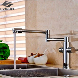 Kitchen Tap Two Faucet Australia - Uythner Deck Mounted Long Spout Extending Kitchen faucets Chrome Brass Two Handle One Hole Mixer Tap