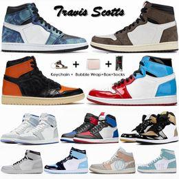 venda por atacado Nike Air Jordan Retro 1 High Travis Scotts Baixa Bloodline quebrado encosto 3.0 Mens tênis de basquete 1s Destemido UNC Bred Jumpman Sports Sneakers Com Box 36-47 offs white