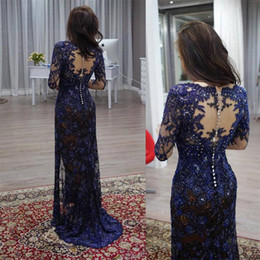 $enCountryForm.capitalKeyWord UK - Luxury Lace Mother of the Bride Dresses with Full Sleeve illusion Appliqued Sheath V Neck Formal Party Gowns Plus Size Wedding Dress