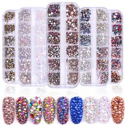 flat back gems 2019 - 1 Box Multi Size Glass Nail Rhinestones Mixed Colors Flat-back AB Crystal Strass 3D Charm Gems DIY Manicure Nail Art Dec
