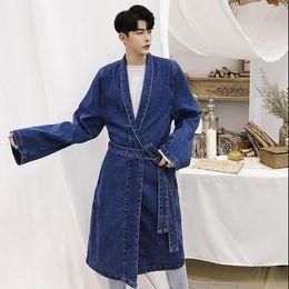 Mens belted trench coat online shopping - Mens cowboy trench coats men long coat man clothes loose overcoat long sleeve new designer V collar bandage