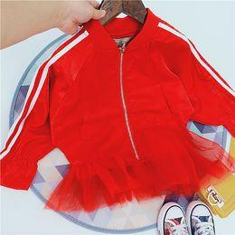 Cotton Spiderman Jackets Australia - 2019 New Item Girl Fashion Red girls hooded denim Jacket With Mesh Hem baby boy blazer kids sport boys Anna SPIDERMAN leggings jackets