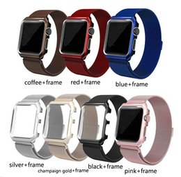 Silver Black Red Australia - Full Coverage Watch Case with Magnetic Metal Band Black Silver Red Pink with Opp Bag For Apple Watch 38mm 40mm 42mm 44mm