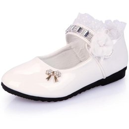 flower girls age UK - Flower Girls Shoes Spring Autumn Princess Lace PU Leather Shoes Cute Bowknot Rhinestone For 3 11 Ages Toddler ShoesMoccasins5f4N#