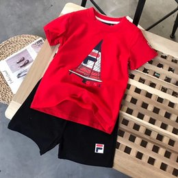 Sail Clothes Australia - Kid Designer T Shirt 2019 New Arrival Childrens Sailing Print Letter Two Pieces Tshirts + Shorts Boy Girl Unisex Fashion Clothes Set
