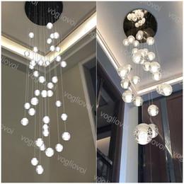 Cristallo Lampadario Illuminazione Palla di vetro con bolla 2m Appeso G4 110V 220V per Scala per interni Bar Droplight Living Room Corridoio Hotel Lobby DHL in Offerta