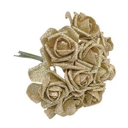 Glitter floors online shopping - 5 cm High Quality Gold Silver Shiny Glitter Foam Rose Artificial Flower Bouquet Xmas Home Wedding Party Decoration