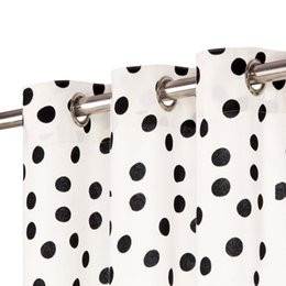 curtains styles designs UK - Curtains Metal Eyelets 2 Pcs. Cotton 140X175Cm Black Dot Wall Stickers