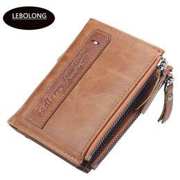 double zipper card holder 2019 - Lebolong Men Wallet Credit Business Card Holders Double Zipper Purse Carteira Zipper Hasp Notecase Multifunction Pocket