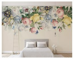 Hand Paper Roll Australia - Customized Beautiful Decorative Wallpaper Hand-painted Fashion Retro Rose Tv Background Wall Papers Home Decorbehang