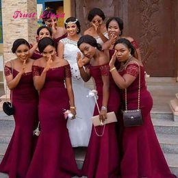 Ivory damas dresses online shopping - 2020 African Burgundy Bridesmaid Dresses Boat Neck Short Sleeves Bridesmaid Dresses Long Vestidos Damas De Honor Adultos
