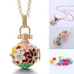 $enCountryForm.capitalKeyWord Australia - Free DHL Charm Flower Locket Ball Necklace 5 Styles Brass Metal Pendants Baby Chime Necklaces With Chain and 3PCS Refill Ball B381Q F