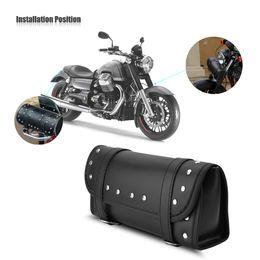 10cca099fb21 PU Leather Motorcycle Motorbike Front Rear Fork Tool Bag Handlebar Bags  Luggage Saddlebag Motorbike Side Tool Tail Bag Black