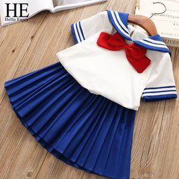 BaBy sailor suits online shopping - HE Hello Enjoy Baby Girl Boutique Set Preppy Style Sailor Moon Bow Tops Blue Pleated Skirt Suit Kids Girls Clothes Children