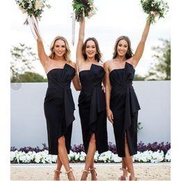 Strapless Satin Short Wedding Dresses Australia - Mingli Tengda Short Black Bridesmaid Dresses Strapless Pleated Satin Tea Length Elegant Wedding Guest Dress 2019 Custom Made Women Gowns