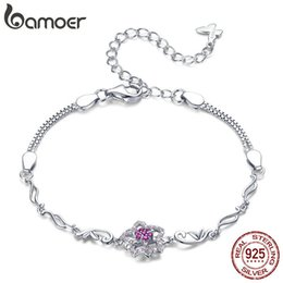 $enCountryForm.capitalKeyWord Australia - Bamoer Authentic 925 Sterling Silver Blooming Peach Love Flower Lobster Bracelets For Women Sterling Silver Jewelry Gift Bsb005 Y19051101