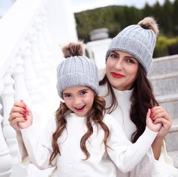 girl bobble hat Canada - Parent-child Pom Pom Beanie Mother Baby Kids Matching Knitting Wool Pom Bobble Hat Winter Warm Beanie Girls Cap OOA7433-2