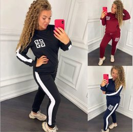 hoodies t shirt outfits Canada - Top sell Women Letter Hoodie Pants Tracksuit Contrast Color 2pcs Sweatsuit Hooded T shirt Pullover Outfit Sportswear Suits Cloth set