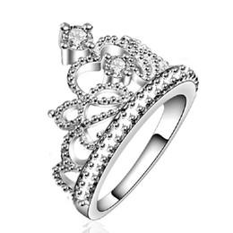 $enCountryForm.capitalKeyWord Australia - Silver Plated Zircon Crystal Wedding Bridal Fashion Hollow crown Rings for Women Valentine's day gift