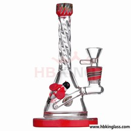 hot bong Australia - USA color heady glass dab rig 8 inch honeybee oil rig bong hot sell red purple glass water pipe free shipping