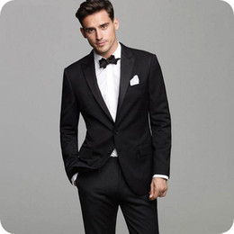 $enCountryForm.capitalKeyWord NZ - Italy Groom Black Wedding Tuxedos Men Suits Pants Peak Lapel 2Piece Slim Fit Costume Homme Classy Terno Masculino Tailored Trajes de hombre