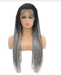 $enCountryForm.capitalKeyWord Australia - Natural Black Braided Wigs Long Braids Full Wigs Black to Gary Brown Glueless Synthetic Lace Front Wigs for Black Women
