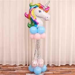 Horse Birthday Party Decorations Australia - Large Rainbow Unicorn Party Supplies Aluminum Film Balloon Kids Cartoon Animal Horse Float Balloon Column Birthday Party Decoration16 89mlE1
