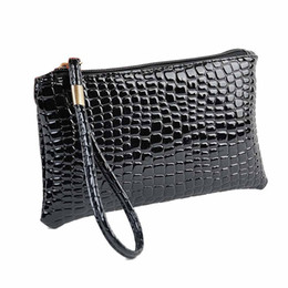 wholesale plain purses Australia - Wholesale- 2016 New Fahion Handbag Womens Crocodile PU Leather Clutch Handbag Bag Coin Purse Crocodile purse Clutch
