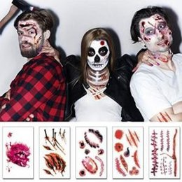 Water proof stickers online shopping - Scars Tattoos Halloween Cosplay Wound Zombie Scars Tattoo Simulation Scar Stickers Water Proof Paster Party Favor OOA6113