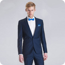 $enCountryForm.capitalKeyWord NZ - Navy Blue Groom Tuxedo Simple Breasted Slim Fit Men Suits for Wedding Suits Man Blazers Costume Homme 2Piece(Coat Pants) Terno Masculino
