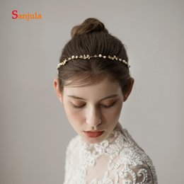 Simple handmade hair acceSSorieS online shopping - Handmade Simple Headband Pearls Beaded Wedding Hair Accessories Metal Leaves Engagement Party Hair Decoration coroa noiva H207