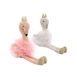 chicken statue UK - 1Pcs Cute Swan Pillow Stuffing Flamingo Plush Toy with Crown Animal Plush Toys Baby Toy Home Decor for Children Plush Pillow Toy