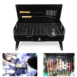 Bbq Grill Stove Australia - Portable BBQ Barbecue Grill Folding Camping Charcoal Stove Garden Tools Outdoor Kitchen Cooking Accessories Adjustable Cookware with fork