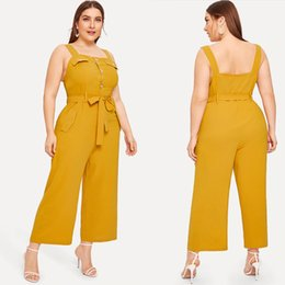 $enCountryForm.capitalKeyWord Australia - XL-4XL 2019 Summer Plus size Women Jumpsuits Casual Yellow Spaghetti Strap Rompers Large Ladies Wide Leg Overalls OL Jumpsuits