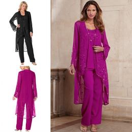 Panting Pictures Australia - Fuchsia Chiffon Plus Size Long Sleeves Mother of Bride Pant Suits with Jacket Beads Chiffon Modern Wedding Gowns Cheap Elegant Party Dresses