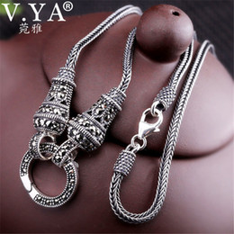thai pendants Australia - V.YA Thai Silver Long Chain Necklace for Women 925 Sterling Silver Marcasite Stone Pendant Necklaces 1.5mm 60cm 70cm 75cm 80cm CJ191116