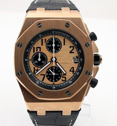 AutomAtic chronogrAph wAtches leAther online shopping - Hot Sale Quartz Chronograph Outdoor Watches Stainless Steel Pink Gold Case Orange Dial Watch mm Mens Wristwatch With Black Leather Band