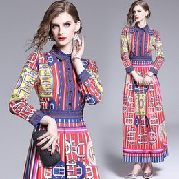 $enCountryForm.capitalKeyWord Australia - New 2019 Runway Luxury Fashion Printed Womens Ladies Casual Long Sleeve Button Front Lapel Neck A-Line Party Pleated Maxi Dresses Vestidos