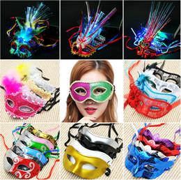 $enCountryForm.capitalKeyWord Australia - LED Fiber Light up Carnival party Mask Masquerade Fancy Dress Party Princess Feather Glowing Masks