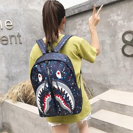 $enCountryForm.capitalKeyWord Australia - Fashion Unisex Shark Mouth Backpacks For Teenagers Camouflage Travel Backpack Kids School Bags High Quality Cool Laptop Bag Free shipping