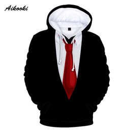 Funny Suits Australia - Aikooki Ten kinds design Funny Suit Tie 3D Hoodie Men Women Street wear Suit Long Sleeves Fashion 3D Hoodies Sweatshirts Clothes