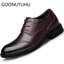 Discount formal working shoes - 2019 new fashion men's shoes dress genuine leather male office work classic brown black shoe man formal shoes for m