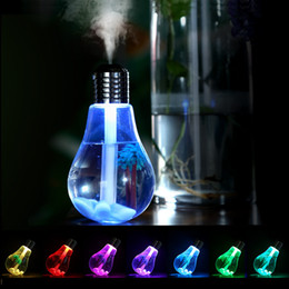 Lighting Oil Lamps Australia - 400ML Bulb Humidifier USB Ultrasonic Air Humidifier Colorful Night Light Essential Oil Aroma Diffuser Lamp Bulb Shape Mist Maker GGA1884