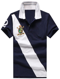 5c51f63a4 Hombres del verano que compiten con camisas de polo Big Pony algodón Nuevo  Busto a rayas Polos de manga corta Número 2 Club Camisa de negocios Azul  marino ...